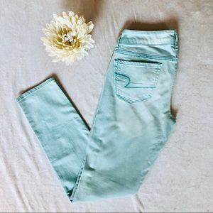 American Eagle Outfitters Turquoise Skinny Jeans